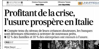 Profitant de la crise, l'usure prospere en Italie